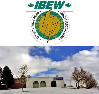 IBEW Local 120 logo and training hall image