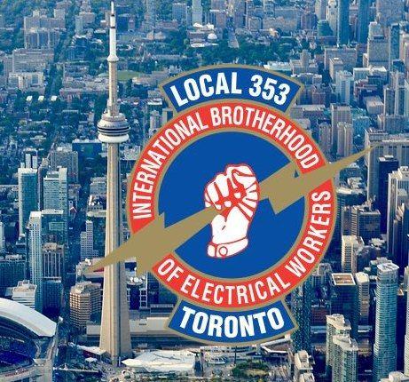 ibew local 353 logo with toronto skyline