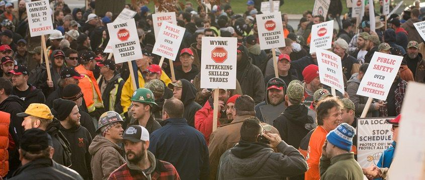 Protest Against Bill 70 Schedule 17 in Queen's Park Toronto in November 2016