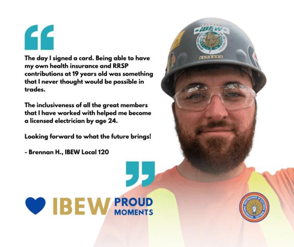 IBEW Proud Moments - Brennan H. - Local 120 - Facebook